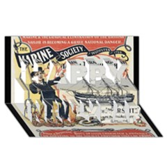 Vintage Advertisement British Navy Marine Typography Happy New Year 3D Greeting Card (8x4)