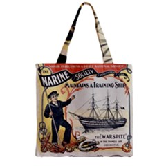 Vintage Advertisement British Navy Marine Typography Zipper Grocery Tote Bag