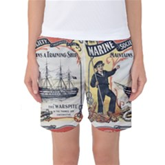 Vintage Advertisement British Navy Marine Typography Women s Basketball Shorts
