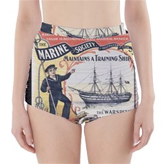 Vintage Advertisement British Navy Marine Typography High-Waisted Bikini Bottoms