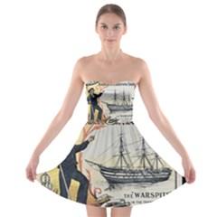Vintage Advertisement British Navy Marine Typography Strapless Bra Top Dress