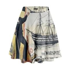 Vintage Advertisement British Navy Marine Typography High Waist Skirt