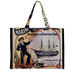 Vintage Advertisement British Navy Marine Typography Medium Zipper Tote Bag