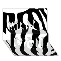 Zebra horse skin pattern black and white Miss You 3D Greeting Card (7x5)