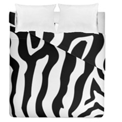 Zebra Horse Skin Pattern Black And White Duvet Cover Double Side (queen Size)