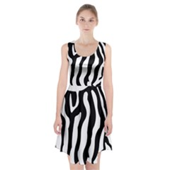 Zebra Horse Skin Pattern Black And White Racerback Midi Dress