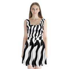 Zebra Horse Skin Pattern Black And White Split Back Mini Dress