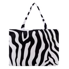 Zebra Horse Skin Pattern Black And White Medium Tote Bag