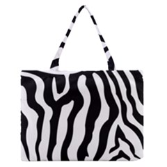 Zebra Horse Skin Pattern Black And White Medium Zipper Tote Bag