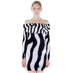 Zebra horse skin pattern black and white Long Sleeve Off Shoulder Dress