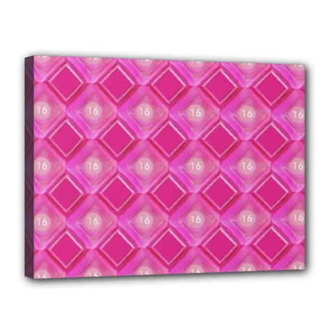 Pink Sweet Number 16 Diamonds Geometric Pattern Canvas 16  x 12