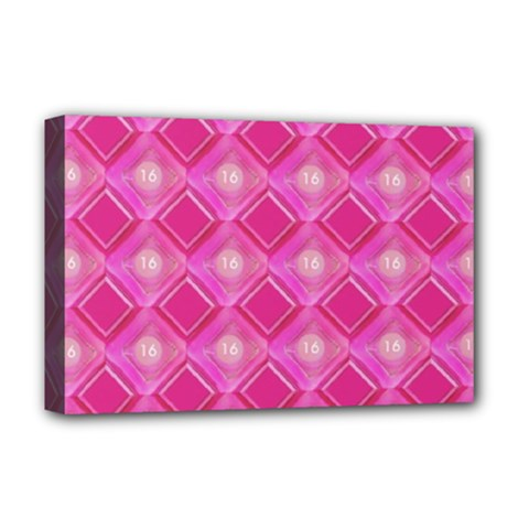 Pink Sweet Number 16 Diamonds Geometric Pattern Deluxe Canvas 18  x 12