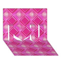 Pink Sweet Number 16 Diamonds Geometric Pattern I Love You 3D Greeting Card (7x5)