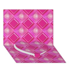 Pink Sweet Number 16 Diamonds Geometric Pattern Heart Bottom 3D Greeting Card (7x5)