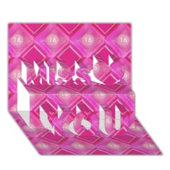 Pink Sweet Number 16 Diamonds Geometric Pattern Miss You 3D Greeting Card (7x5)