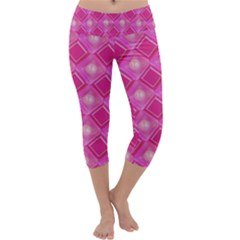 Pink Sweet Number 16 Diamonds Geometric Pattern Capri Yoga Leggings