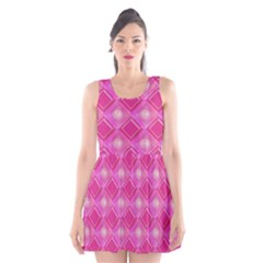 Pink Sweet Number 16 Diamonds Geometric Pattern Scoop Neck Skater Dress