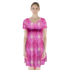 Pink Sweet Number 16 Diamonds Geometric Pattern Short Sleeve V Neck Flare Dress