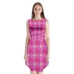 Pink Sweet Number 16 Diamonds Geometric Pattern Sleeveless Chiffon Dress
