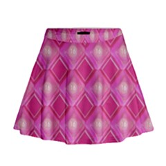 Pink Sweet Number 16 Diamonds Geometric Pattern Mini Flare Skirt