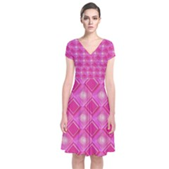 Pink Sweet Number 16 Diamonds Geometric Pattern Short Sleeve Front Wrap Dress
