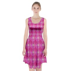 Pink Sweet Number 16 Diamonds Geometric Pattern Racerback Midi Dress