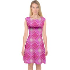Pink Sweet Number 16 Diamonds Geometric Pattern Capsleeve Midi Dress
