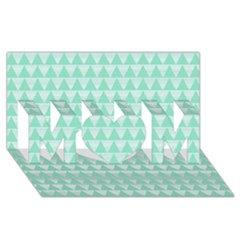 Mint Color Triangle Pattern Mom 3d Greeting Card (8x4)