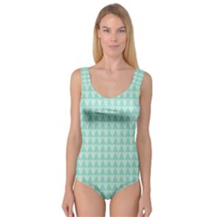 Mint color triangle pattern Princess Tank Leotard