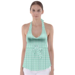 Mint Color Triangle Pattern Babydoll Tankini Top