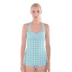 Mint Color Triangle Pattern Boyleg Halter Swimsuit