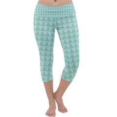 Mint color triangle pattern Capri Yoga Leggings