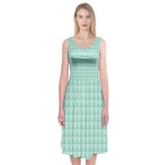 Mint Color Triangle Pattern Midi Sleeveless Dress