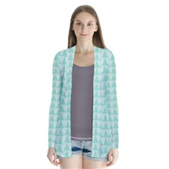 Mint color triangle pattern Drape Collar Cardigan