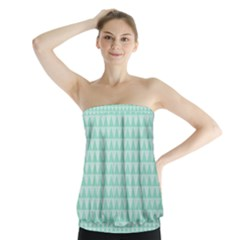 Mint Color Triangle Pattern Strapless Top