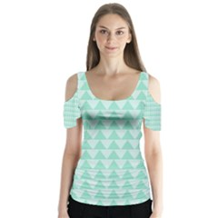 Mint Color Triangle Pattern Butterfly Sleeve Cutout Tee