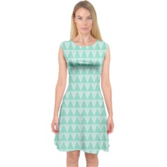 Mint color triangle pattern Capsleeve Midi Dress