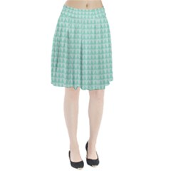 Mint color triangle pattern Pleated Skirt