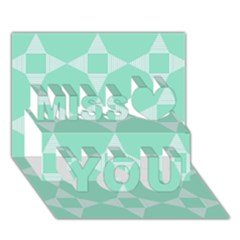 Mint color star - triangle pattern Miss You 3D Greeting Card (7x5)