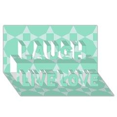 Mint Color Star   Triangle Pattern Laugh Live Love 3d Greeting Card (8x4)
