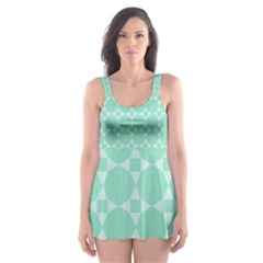 Mint Color Star   Triangle Pattern Skater Dress Swimsuit