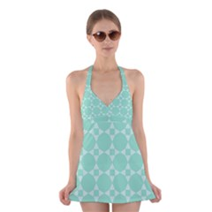 Mint color star - triangle pattern Halter Swimsuit Dress