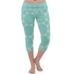Mint color star - triangle pattern Capri Yoga Leggings
