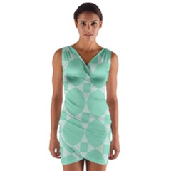 Mint color star - triangle pattern Wrap Front Bodycon Dress