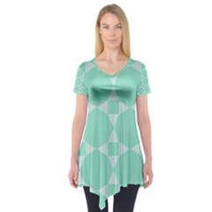 Mint color star - triangle pattern Short Sleeve Tunic