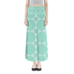 Mint Color Star   Triangle Pattern Maxi Skirts