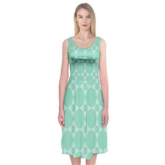 Mint Color Star   Triangle Pattern Midi Sleeveless Dress