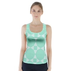 Mint Color Star   Triangle Pattern Racer Back Sports Top