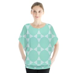 Mint color star - triangle pattern Blouse
