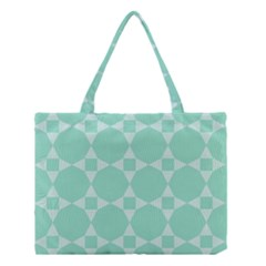 Mint Color Star   Triangle Pattern Medium Tote Bag